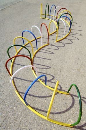 colorful playground with metal bars photo