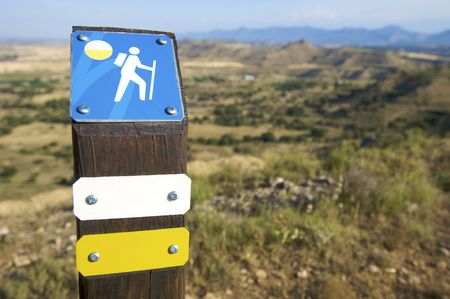 walking signal in a spanish landscape photo