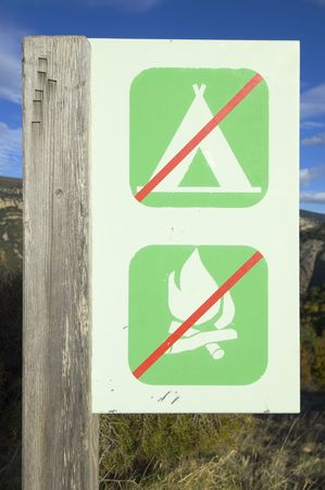 prohibited camping and fire signal in the Pyrenees, spain photo