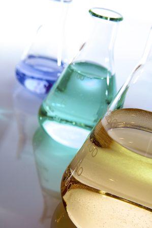 matrass: three flasks with color liquid Stock Photo