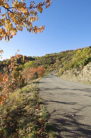 road in a beautiful autumn landscape photo