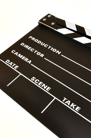 clapperboard color black on a white background photo