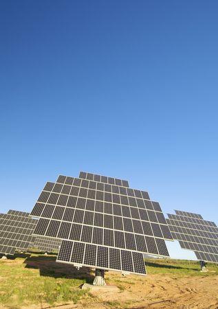 Solar field with blue sky photo