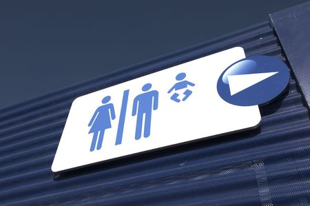 sign wc for men, women and babies photo