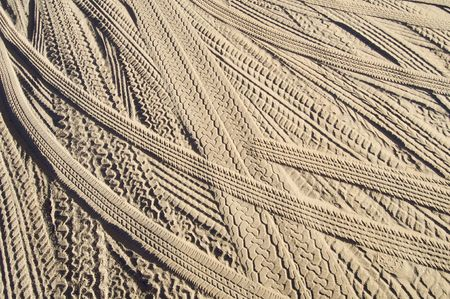 tyre tread: Car tire tracks in the sand; Utah desert, Usa