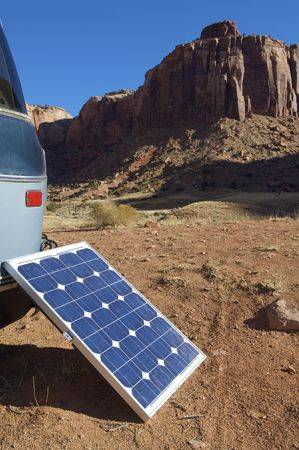 photovoltaic panel: little photovoltaic panel in a van Stock Photo