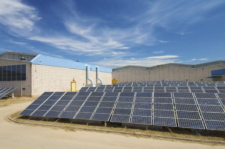 voltaic: Photovoltaic panels in a industrial plant