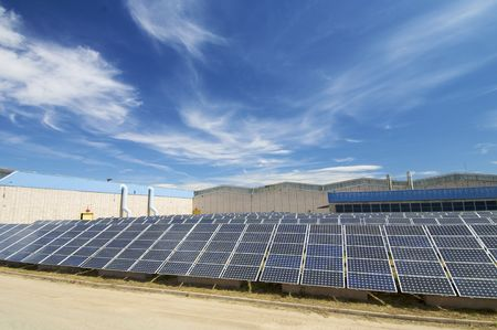 factory power generation: Photovoltaic panels in a industrial plant