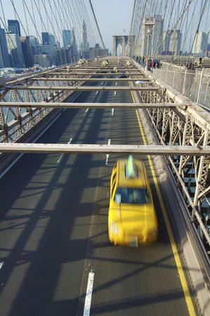 Taxi in Brooklyn Bridge in New York city photo