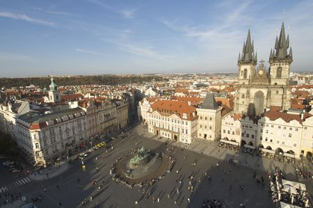 tyn: Old Town Square and Tyn Church Stock Photo