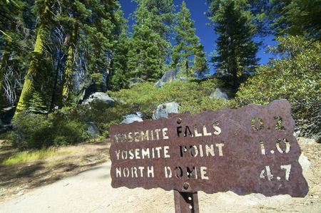 steep cliffs sign: metal sign in yosemite valley