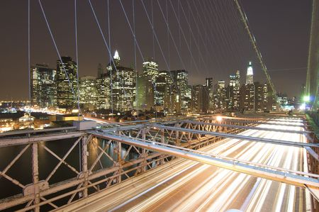 Brooklyn bridge and skyline in the night photo