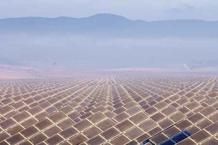 huge solar field in the morning Stock Photo - 6102448