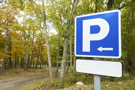 parking signal in a forest Stock Photo - 6123807
