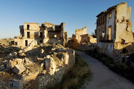 bombing: Belchite village destroyed in a bombing during the Spanish Civil War Stock Photo