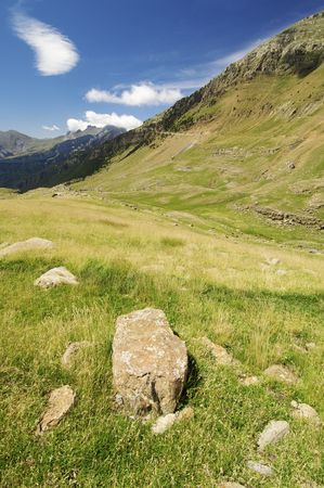 Mountain landscape in Ip Valley, Pyrenees, Spain photo