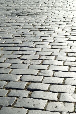 cobblestones on a street in Prague photo