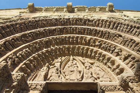 santo: detail of the facade of the Santo Domingo church in Soria, Spain Stock Photo