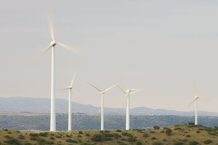 windmills with clear and blue sky photo
