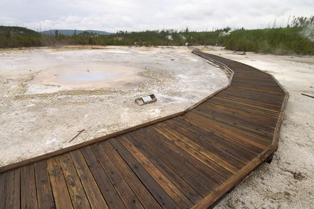 straight path: wood way in Yellowstone National Park