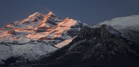 overview of the massif of Monte Perdido in the evening photo