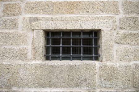 lattice window: lattice window in Royal Monastery of El Escorial; Madrid; Spain Stock Photo