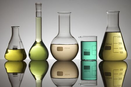glassware group with color liquid photo