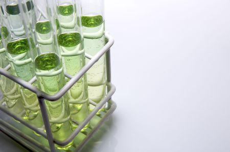 scientifical: group of test tubes with green liquid