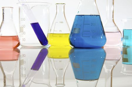 matrass: several glassware with color liquid Stock Photo