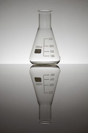 matrass: laboratory flask, two hundred fifty milliliters, on a white background gradient