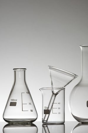 laboratory glass material on a white background photo