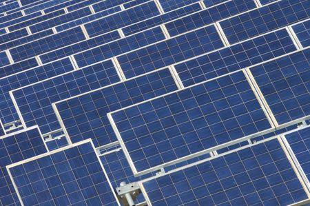 photovoltaic panels detail in blue color photo