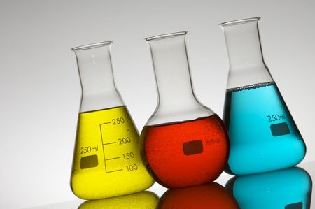 milliliters: three flasks with colored liquid