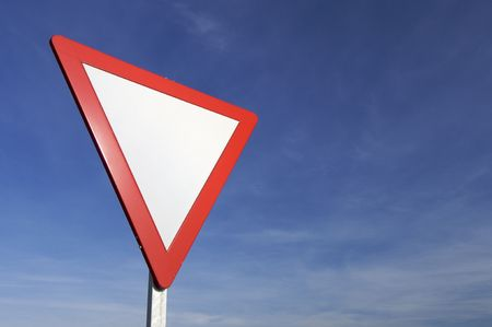European signal give way to blue sky Stock Photo - 6335114