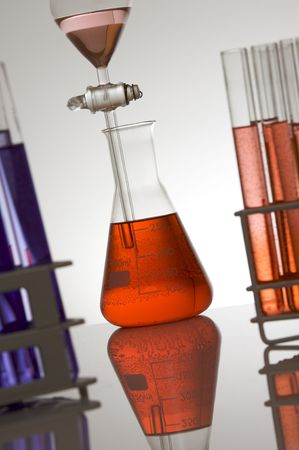 matrass: laboratory equipment at backlit