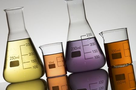 containers for laboratory experiments to the light Stock Photo - 6372179