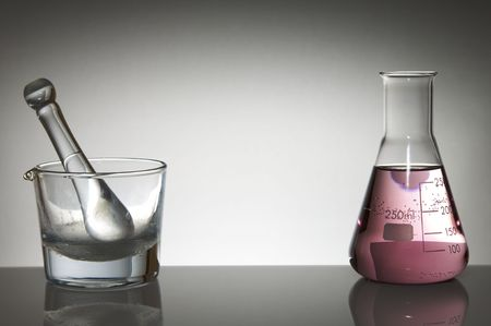 milliliters: mortar and laboratory flask to the light