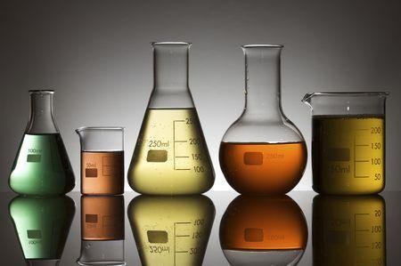 matrass: lab equipment with colored liquid Stock Photo