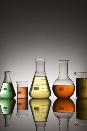 milliliters: lab equipment with colored liquid Stock Photo