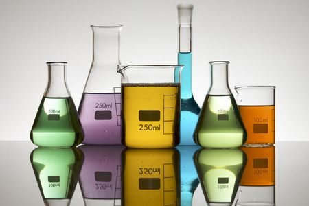 matrass: laboratory equipment with liquid color Stock Photo