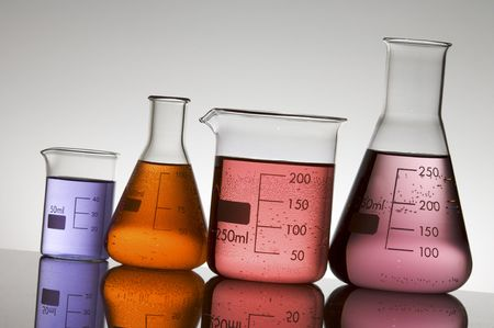 lab equipment with colored liquid Stock Photo
