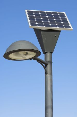 photovoltaic panel: lamp post and photovoltaic panel Stock Photo