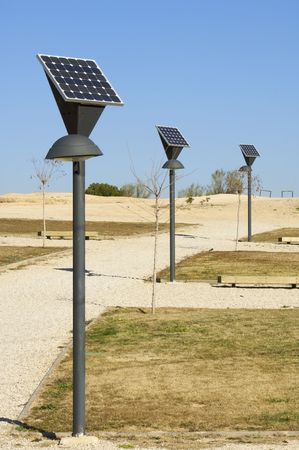 photovoltaic panel: lamp posts and photovoltaic panel Stock Photo