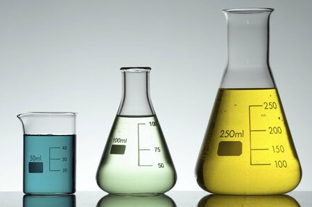 two flasks and a beaker to the light Stock Photo - 6434135
