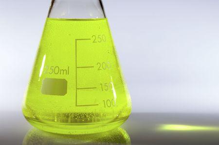 matrass: flask with liquid green backlit