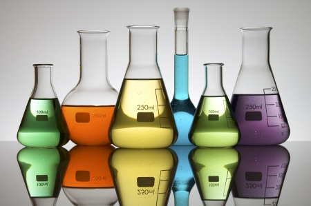 pharmacy equipment: lab equipment with colored liquid Stock Photo