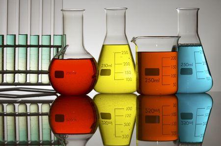 bottles of transparent glass laboratory photo