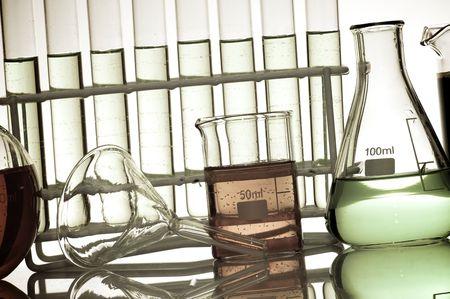 laboratory equipment at backlit photo