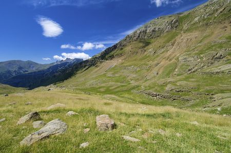 ip: Mountain landscape in Ip Valley, Pyrenees, Spain Stock Photo