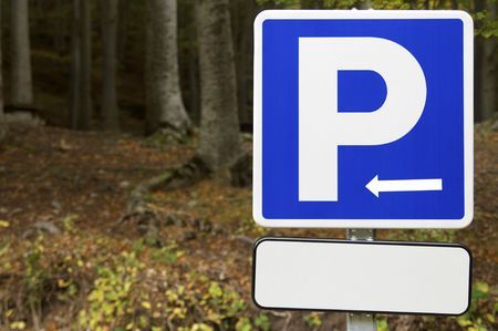 parking signal in a forest Stock Photo - 6653108